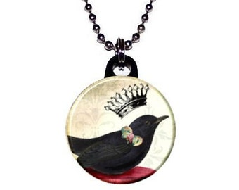 Crown Crow Necklace