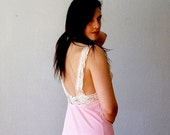 victorian LACE slip / plunging OPEN back night dress