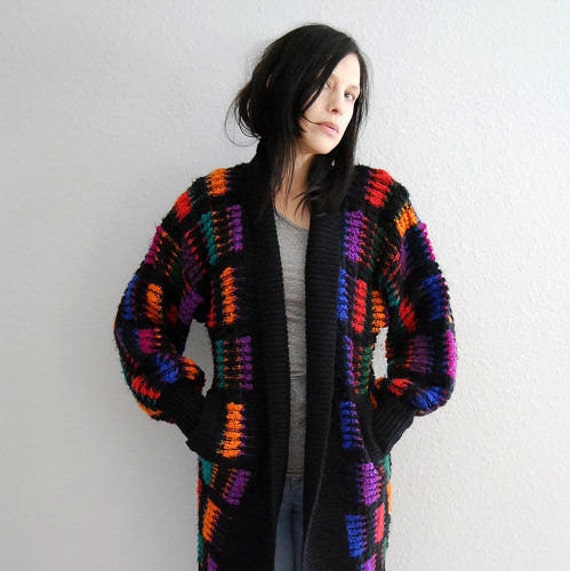 vintage PATTERN cardigan / 1980s slouchy sweater coat