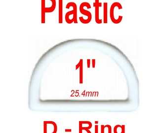 """20 PIECES - 1"""" - WHITE - D-Ring, 1 inch , 25mm, Dee Ring, Polyacetal Plastic"""