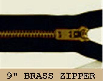 """YKK JEAN Zippers - 9"""" - Brass - Metal - Black - 10 ZIPPERS - size 4.5 or 5"""