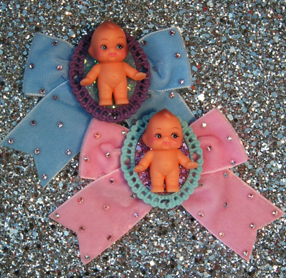 Velvet Kewpie Hair Bow Clip Accessory by Cutie Dynamite Lolita Party Pinup Alice Kawaii Cute