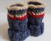 Folklore texting fingerless mitts, Blue denin alpaca wool , crochet création from Bijoux Tricot