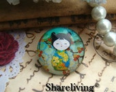 Glass Cabochon, 8mm 10mm 12mm 14mm 16mm 20mm 25mm 30mm Round Handmade photo glass Cabochons   (Japanese Doll) -- BCH728E