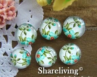 Glass Cabochon, 8mm 10mm 12mm 14mm 16mm 20mm 25mm 30mm Round Handmade photo glass Cabochons (Small Flower)  -- BCH098E