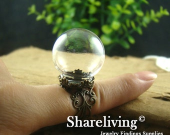 1 set 15mm Large Clear Glass Globe Bottle With Antique Bronze Crown Filigree Ring RI804B