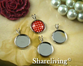 50pcs Silver 12mm Round Cameo Base Setting Charm / Pendant BS292