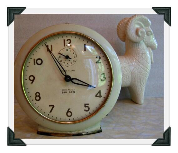 Vintage Alarm Clock - Westclox Big Ben white shabby chic decor