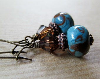 SALE Chocolate Swirl - Turquoise and Brown Polymer Clay Antiqued Brass Earrings