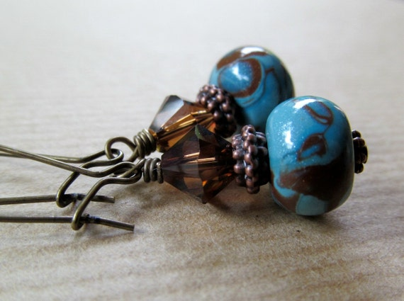 Chocolate Swirl - Turquoise and Brown Polymer Clay Antiqued Brass Earrings