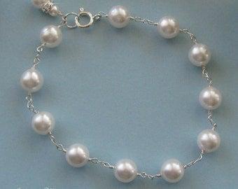 Wedding Jewelry - Pearl Bracelet - Sterling Silver and Pearl Bracelet for the Bride- Bridal Jewelry by JaniceMarie