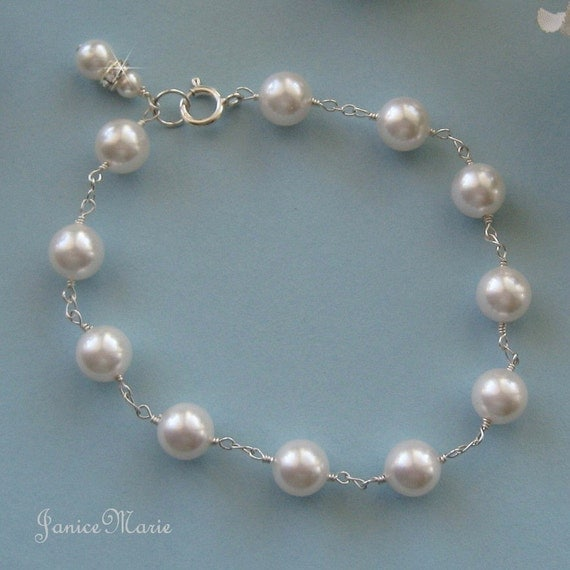 Wedding Jewelry - Pearl Bracelet - Sterling Silver and Pearl Bracelet for the Bride- Bridal Jewelry by JaniceMarie