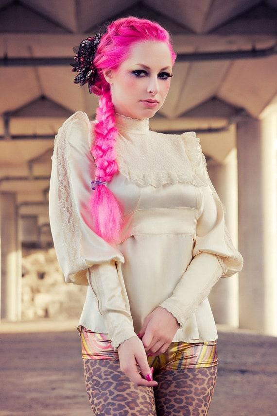 Vintage Harajuku Cowgirl Fashion Blouse in Vanilla Cream Satin & Lace by Janice Louise Miller