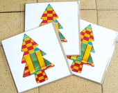 3 x greeting cards - kente cloth design - printed on recycled card