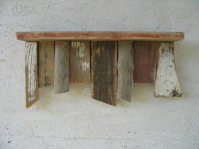 Driftwood shelf rustic wood shelf cottagerecycled wall for Driftwood wall shelves