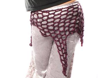 Sale. Purple Crochet Shawl Scarf - Fishnet Web Belly Dance Crochet wrap hip belt, Sparkle Free Form Organic Web Shape, Festival Fashion
