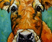 Cow painting 497 36x36 inch original oil painting by Roz