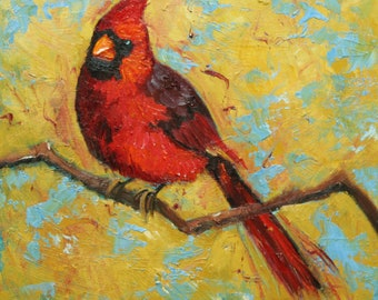 Cardinal 33 10x10 inch Print from oil painting by Roz