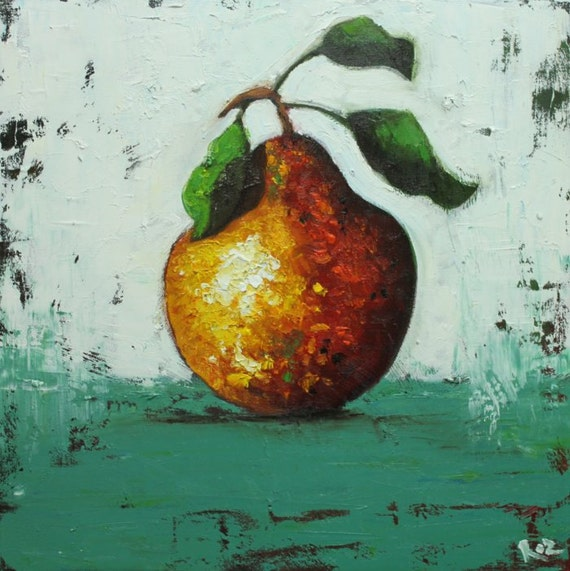Pear painting 38 18x18 inch original still life fruit oil painting by Roz