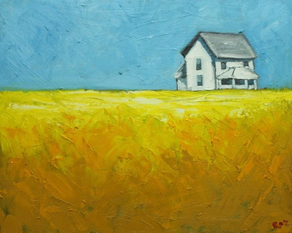 Landscape painting 191 16x20 inch farmhouse field original oil painting by Roz