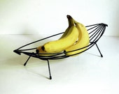 Vintage Banana Boat Mid Century Modern Wire Fruit Bowl Tray Black Wire