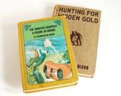 Vintage Hardy Boys Books, Sinister Signpost, Hunting for Hidden Gold Childrens Literature Detective Novels Man Cave Decor