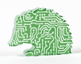 Circuit Board Hedgehog Glass Sculpture