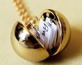 Shiny Gold Secret Message Locket -  Gold Ball Locket Necklace - Stocking Stuffer Christmas gift for her