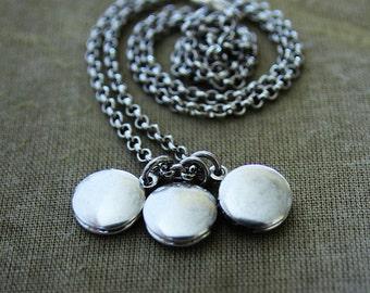 Silver Charm Locket Necklace - Teeny Tiny Triple Edition