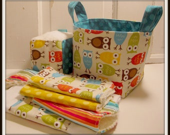 I'm A Hoot in Brown Baby Gift Basket---- Burp Cloth, Bib, Rattle Block, Wash Cloth Set and Fabric Basket