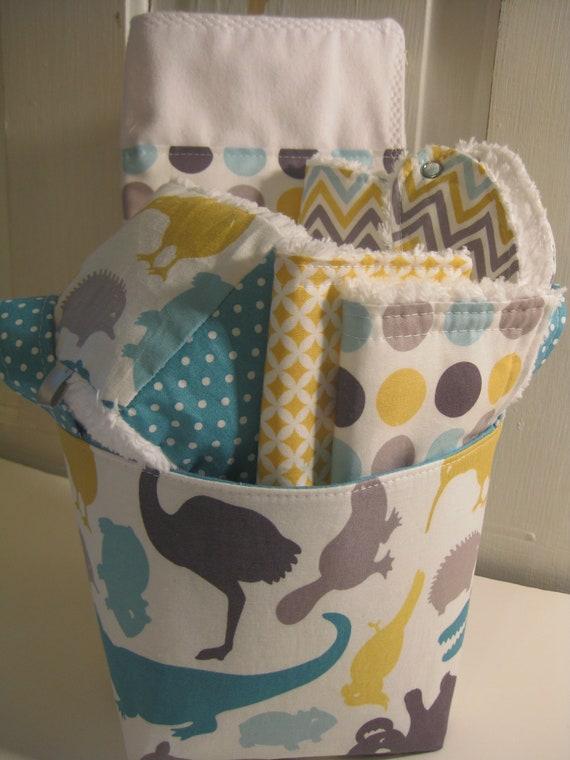 Down Under Baby Gift Basket--- Burp Cloth, Bib, Rattle Block, Wash Cloth Set and Fabric Basket
