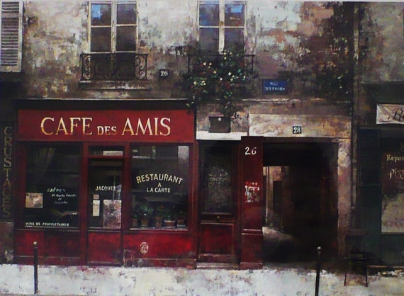 Framed Paris Art Print - Cafe Des Amis by Chiu Tak Hak  -Paris Cafe Bistro France French Artwork Painting Red Paris Streets Kitchen Decor