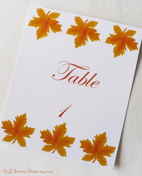 RESERVED - Fall Autumn Leaves TABLE NUMBERS for Weddings