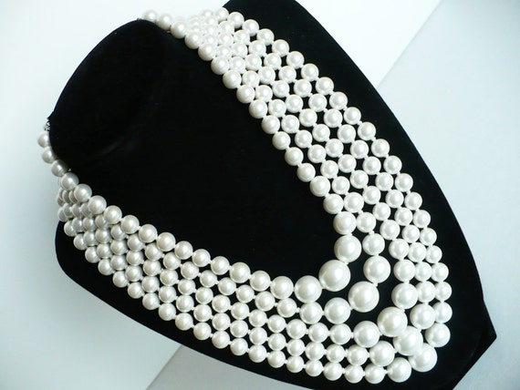 Reserved Vintage Multi Strand Pearl Necklace -Bridal Necklace Bib Five 5 Strands Faux Pearls Classic 1960's Made in Japan