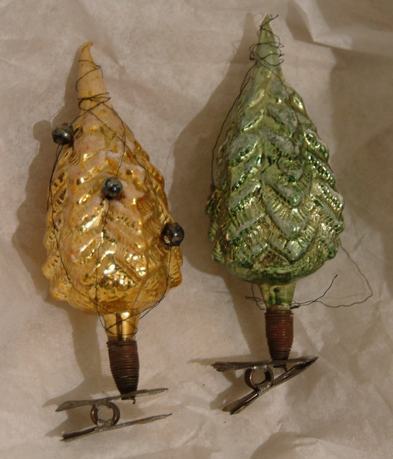 Two Vintage Clip Christmas Tree Ornaments