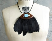 Wood, Feather and vintage Tile necklace - One of a Kind