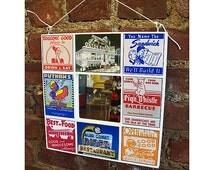retro 1950's diner mirror vintage Route 66 rockabilly kitchen matchbook menu kitsch