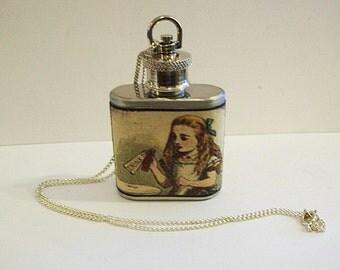 Alice in Wonderland necklace flask retro vintage white rabbit Victorian fairy tale