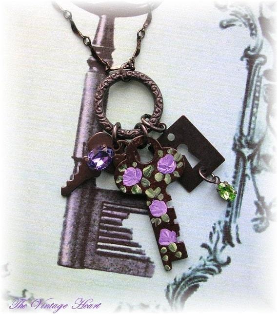 Vintage Key Necklace Enamel Purple Roses Lock Crystals Keyhole Dark Patina Charms