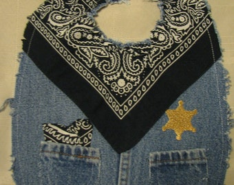 Boys Cute Western Sheriff Recycled Denim and Blue Bandana Cowboy Baby Bib