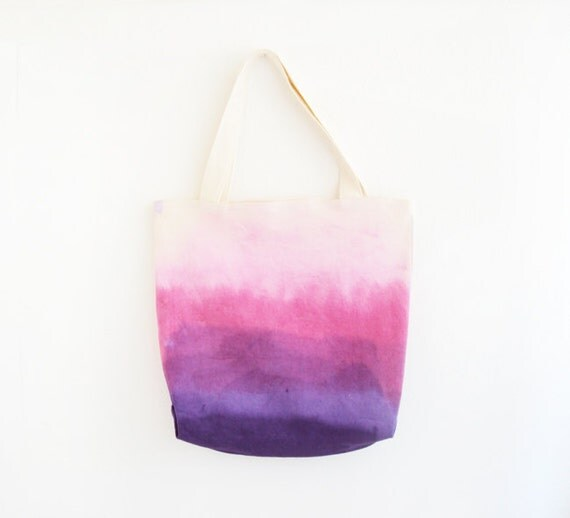 bright purple pink dyed texture tote