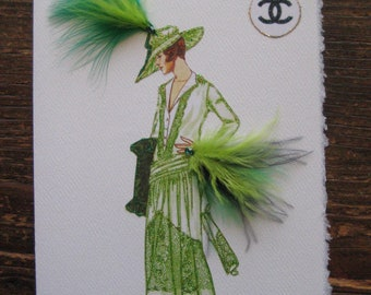 "Coco Chanel 1916 Fashion Illustration ""Green Gown"" 5x7 note card"