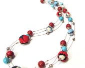 Fabric Stone and Porcelain Necklace