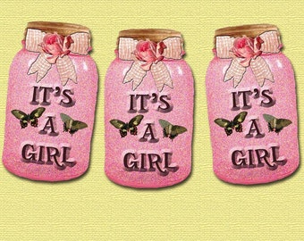It's A GiRL - Set of 12 Jar Image Hang/Gift Tags/ Baby Shower Banner- Printable Collage Sheet Download JPG Digital File