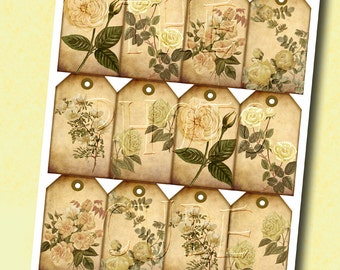Sepia Romantic Floral/Botanical Vintage Art Hang/Gift Tags-INSTaNT DoWNLoAD- Printable Collage Sheet JPG Digital File- NeW LoWER PRiCE