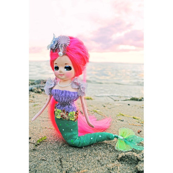 Mermaid Doll CUSTOM ORDER for Jess revamped vintage pose doll (RESERVED)