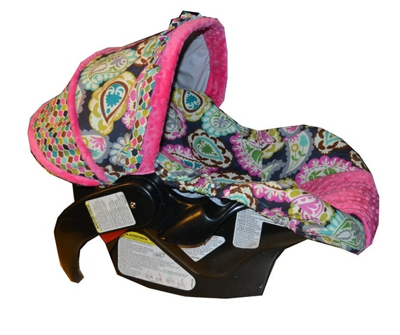 paisley with pink infant car seat cover made to by sassystork. Black Bedroom Furniture Sets. Home Design Ideas