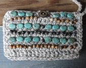 Crochet Beaded Wristlet Coin Purse Phone Cozy