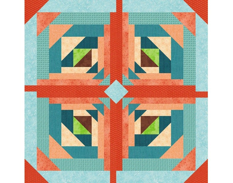 Logging On, Paper Pieced Quilt Block Pattern, log cabin quilt ... : geometric quilt patterns free - Adamdwight.com