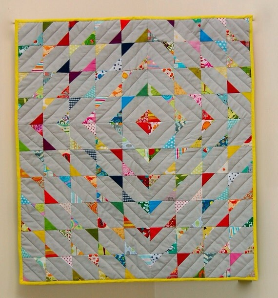 Modern Nursery Quilt Patterns : Items similar to crazy diamond handmade modern baby quilt on Etsy